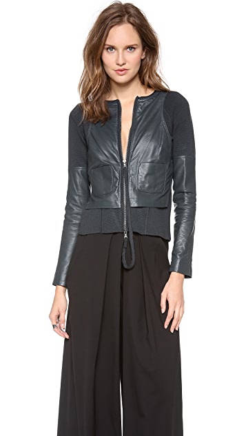 KAUFMANFRANCO Merino Leather Zip Up Jacket