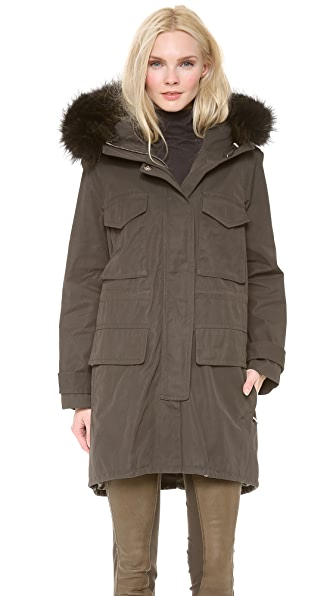 KAUFMANFRANCO Utility Jacket with Fox Fur Trim