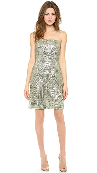 Kaufman Franco Strapless Sequin Dress
