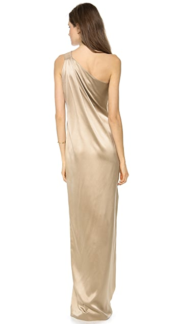 KAUFMANFRANCO One Shoulder Silk Gown