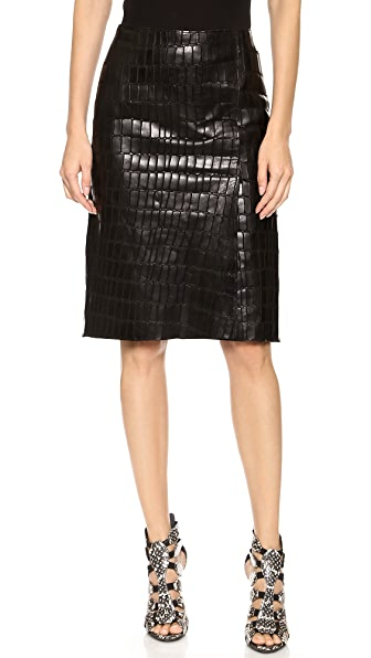 KAUFMANFRANCO Croc Embossed Leather Skirt