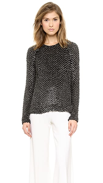 Kaufman Franco Leather Sequin Top