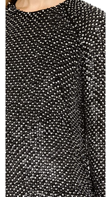 KAUFMANFRANCO Leather Sequin Top