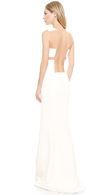 KAUFMANFRANCO Mesh Cutout Gown