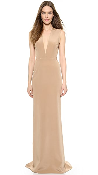 KAUFMANFRANCO Backless Deep V Gown