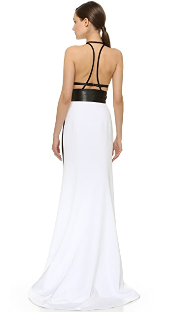 KAUFMANFRANCO Leather Trim Halter Gown