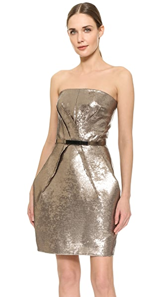 KAUFMANFRANCO Liquid Sequin Belted Tulip Dress