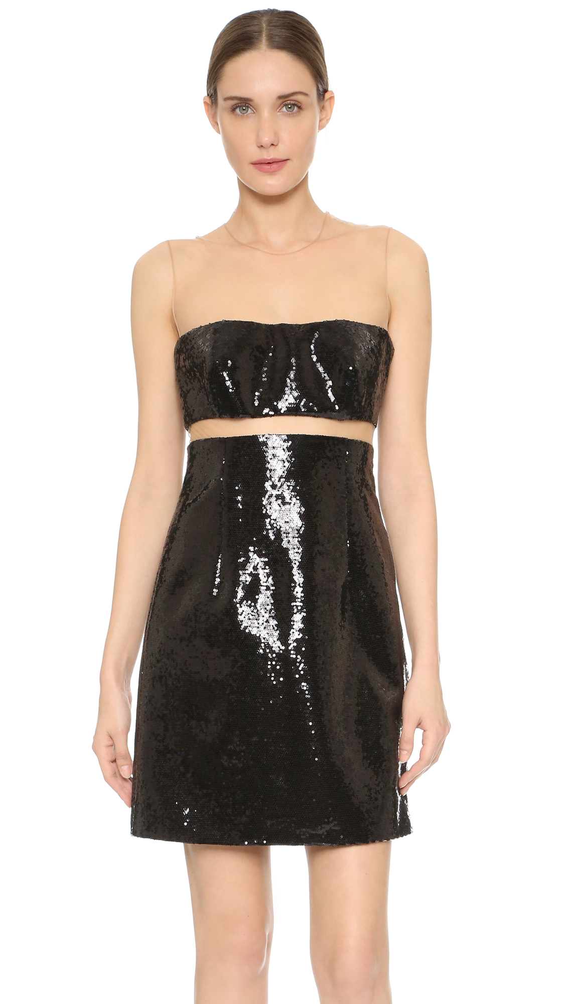 Exclusive to Shopbop. Sheer mesh creates a daring illusion neckline on this shimmering, sequined KAUFMANFRANCO cocktail dress. A slim band of sheer mesh accentuates the waist. Sleeveless. Hidden side zip. Lined. Fabric: Sequined chiffon. Shell: 100% polyester.