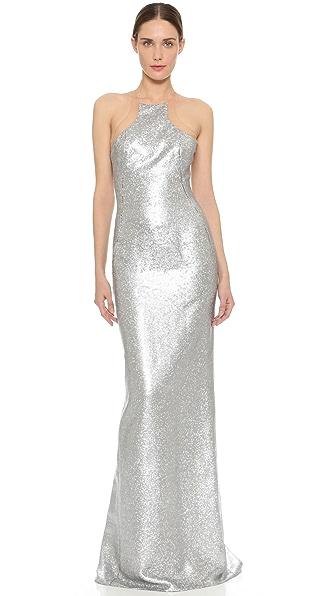 KAUFMANFRANCO Liquid Sequin Column Gown