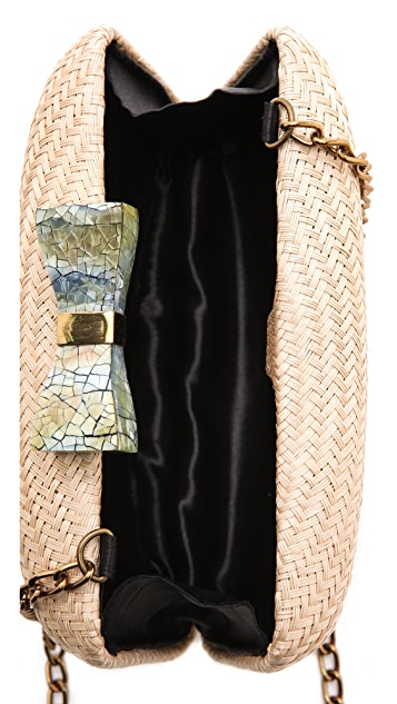 Kayu Annie Straw & Shell Clutch