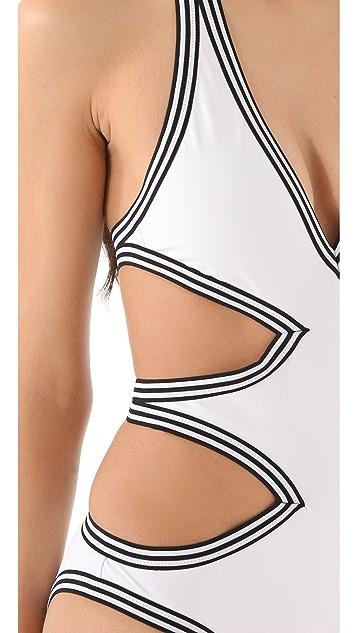 Karla Colletto Stripe Monokini Swimsuit