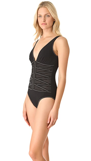 Karla Colletto Perforated One Piece Swimsuit