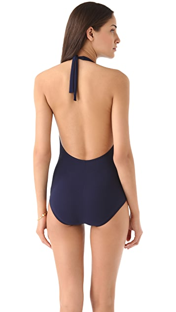 Karla Colletto Draped Flounce Swimsuit