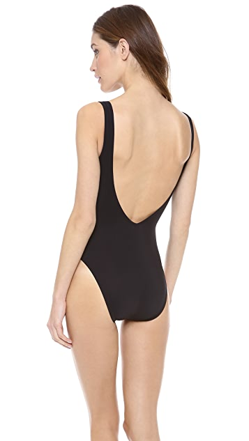 Karla Colletto Patent New Zip One Piece Swimsuit