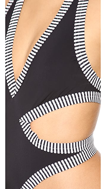 Karla Colletto Pinstripe One Piece Swimsuit