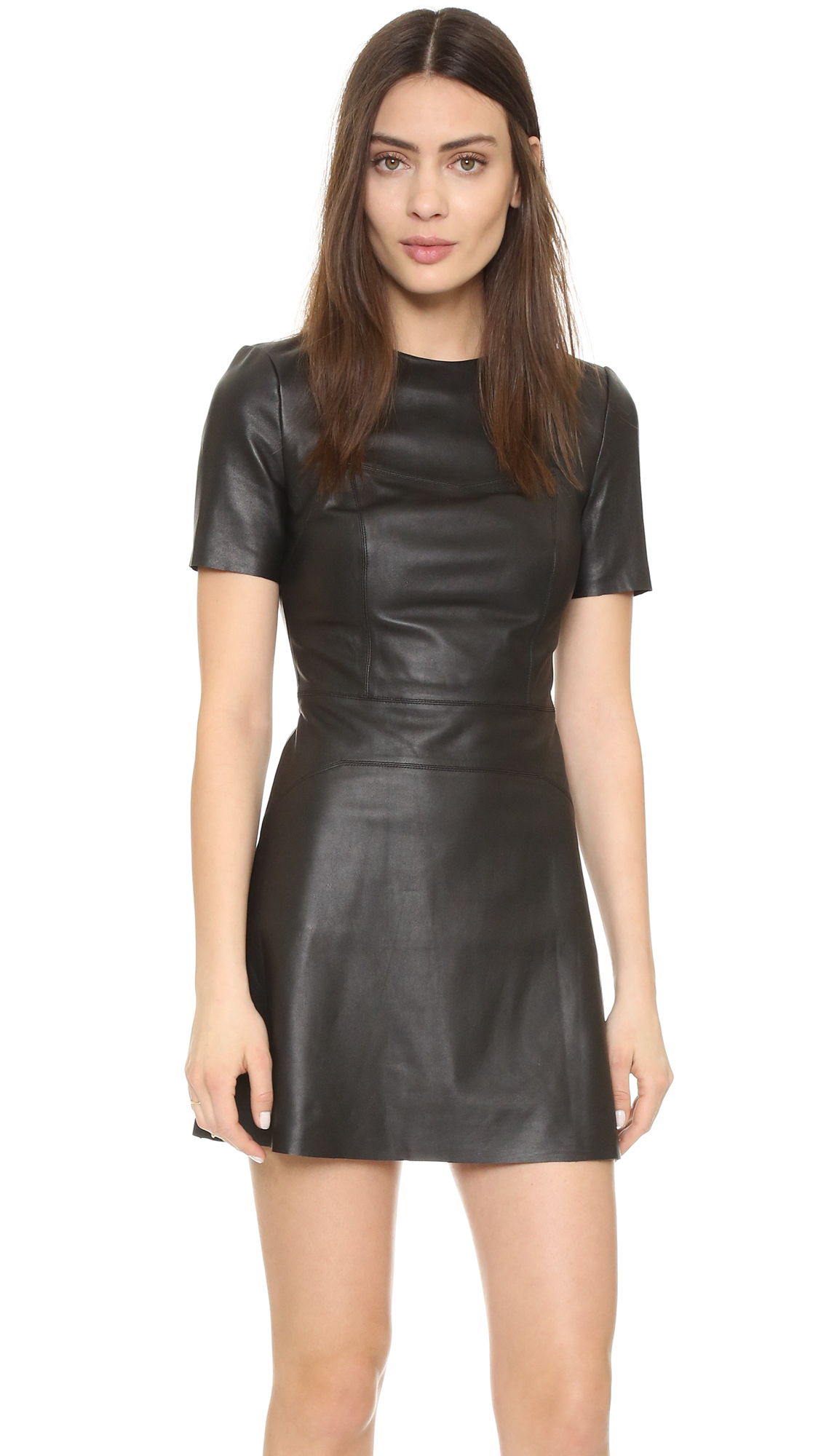 KENDALL   KYLIE Leather Short Sleeve Dress - SHOPBOP