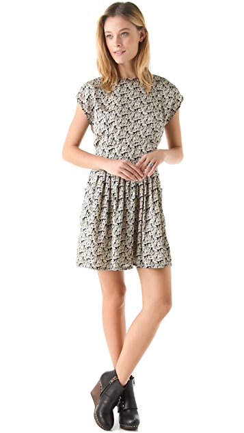 Kenny Printed Slit Back Dress with Pockets