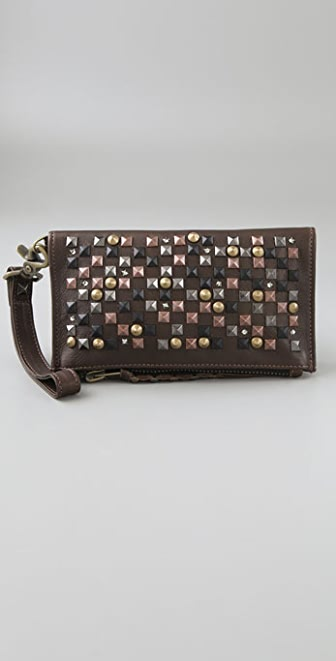 Kettle Black Multi Stud Fold Over Clutch