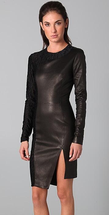 Kevork Kiledjian Cutout Leather Dress with Lace