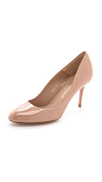 Kurt Geiger London Petal Patent Mid Heel Pumps