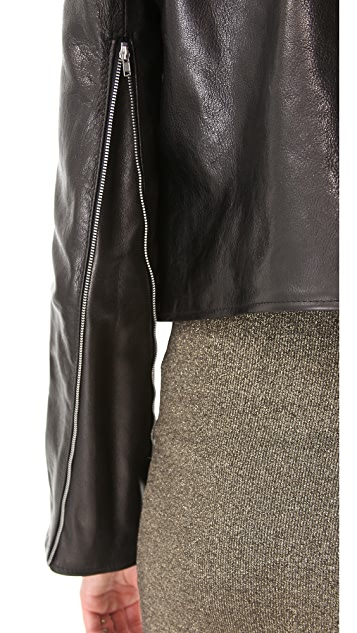 Kimberly Ovitz Glazed Leather Moto Jacket