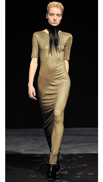 Kimberly Ovitz Metallic Jersey Maxi Dress