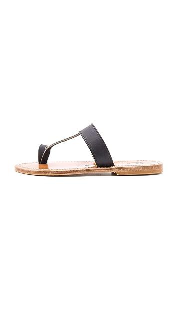K. Jacques Diane Toe Ring Flat Sandal