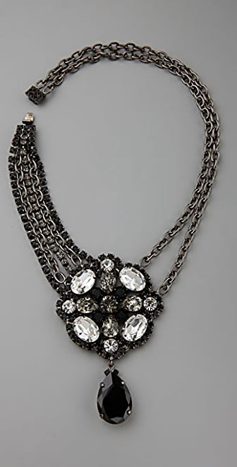 Kenneth Jay Lane Jet Multi Crystal Pendant Necklace