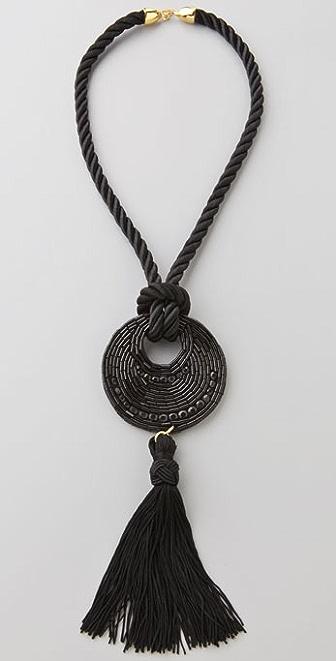 Kenneth Jay Lane Disc Tassel Necklace