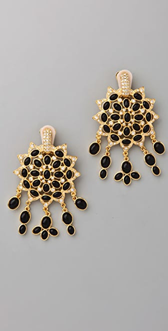 Kenneth Jay Lane Black Cabochon Fancy Drop Earrings