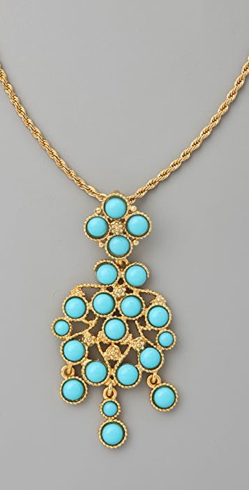 Kenneth Jay Lane Turquoise Drop Pendant Necklace