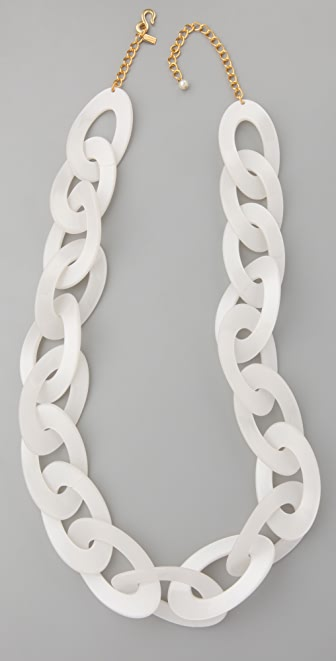 Kenneth Jay Lane Pearlized Bone Link Necklace