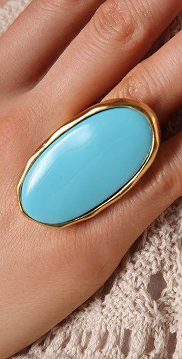Kenneth Jay Lane Satin Gold/Turquoise Oval Ring