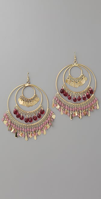 Kenneth Jay Lane Gold 3 Ring Gypsy Hoop Earrings
