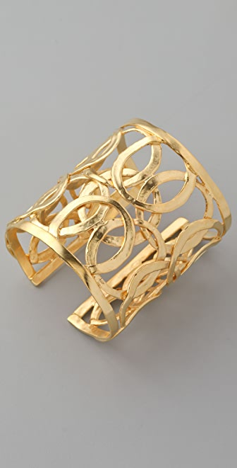 Kenneth Jay Lane Satin Gold Circle Cuff