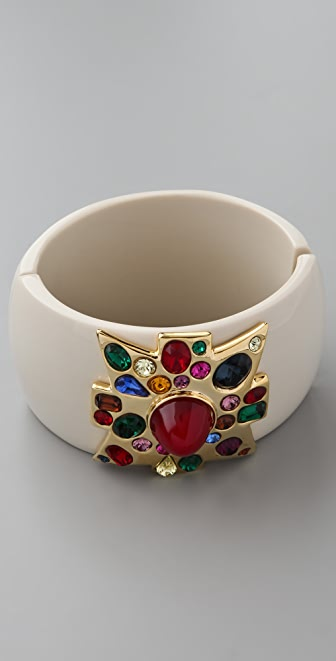 Kenneth Jay Lane Large Cross Cuff with Ruby Center