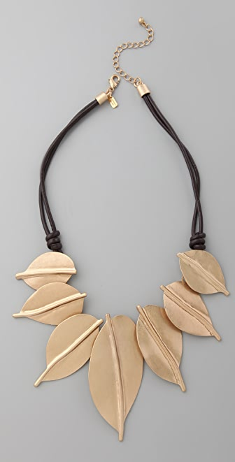 Kenneth Jay Lane Gold Leaf Leather Cord Necklace