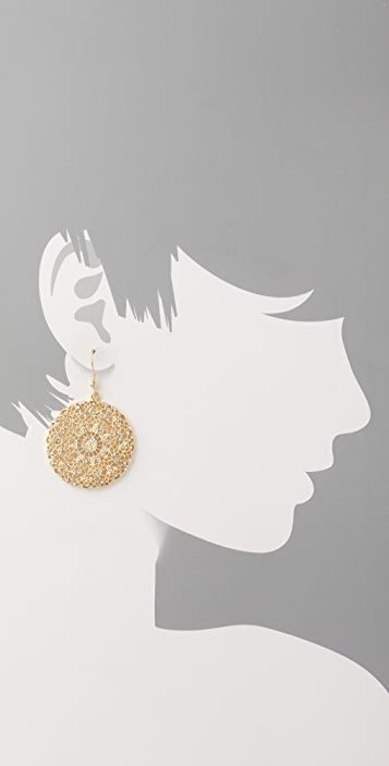 Kenneth Jay Lane Filigree Disc Earrings