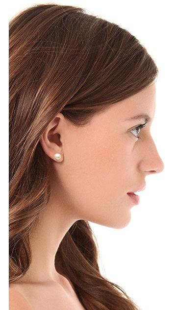 Kenneth Jay Lane Small Glass Pearl Post Earrings