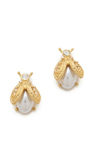 Kenneth Jay Lane Imitation Pearl Bee Earrings