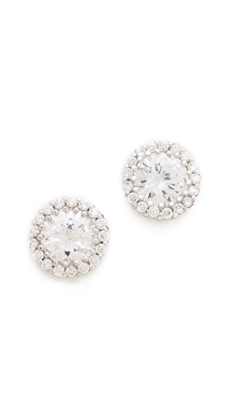 Kenneth Jay Lane Round Pave Stud Earrings - Clear