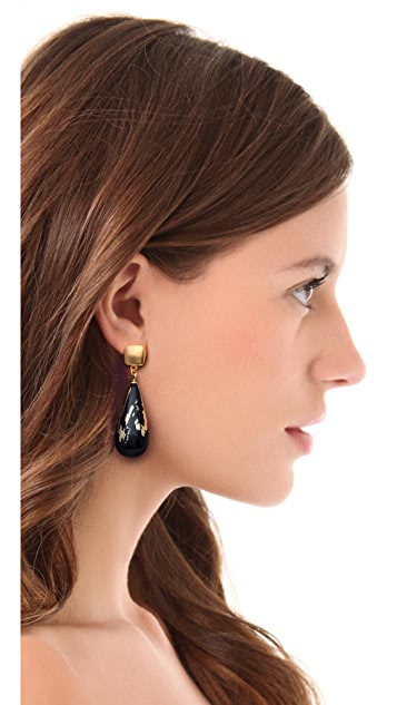 Kenneth Jay Lane Black & Gold Leaf Earrings