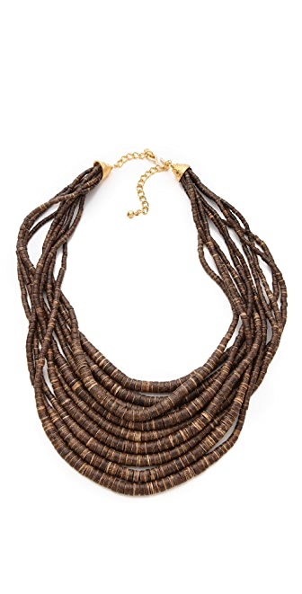 Kenneth Jay Lane Dark Wood & Bead Necklace