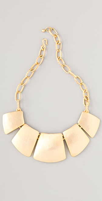 Kenneth Jay Lane Satin Gold Bib Necklace