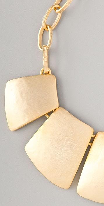 Kenneth Jay Lane Satin Gold Bib Necklace