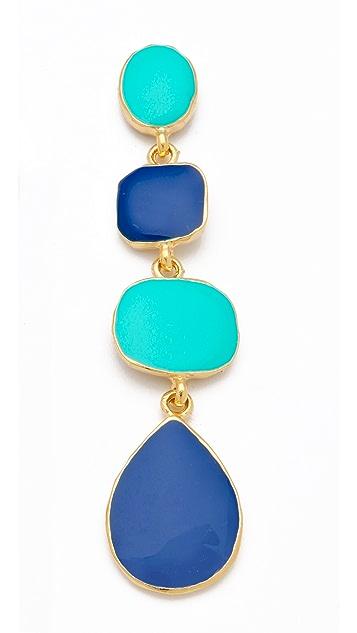 Kenneth Jay Lane Polished Gold & Enamel Earrings