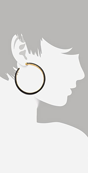 Kenneth Jay Lane Enamel Hoop Earrings