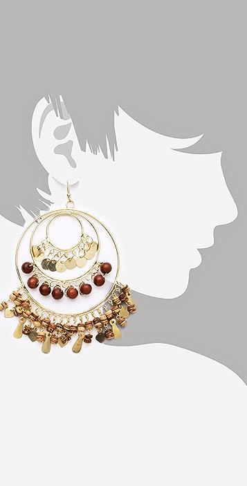 Kenneth Jay Lane Wooden Drop Earrings