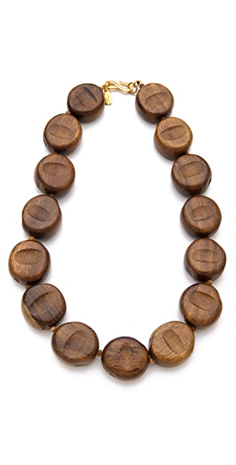 Kenneth Jay Lane Wood Beaded Necklace
