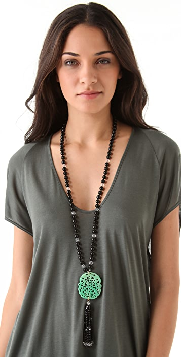 Kenneth Jay Lane Beaded Tassel Necklace